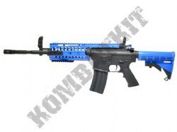 CM208 M4 RIS AEG Electric Airsoft BB Machine Gun Black and Blue Polymer Body
